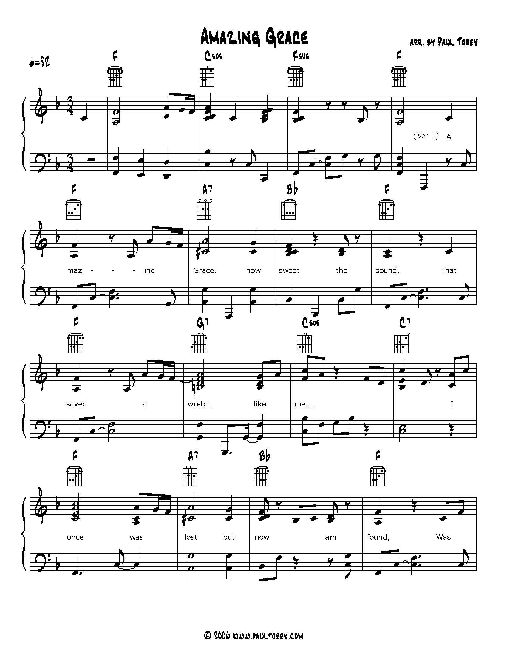 Amazing Grace Sheet Music PDF Piano & Guitar