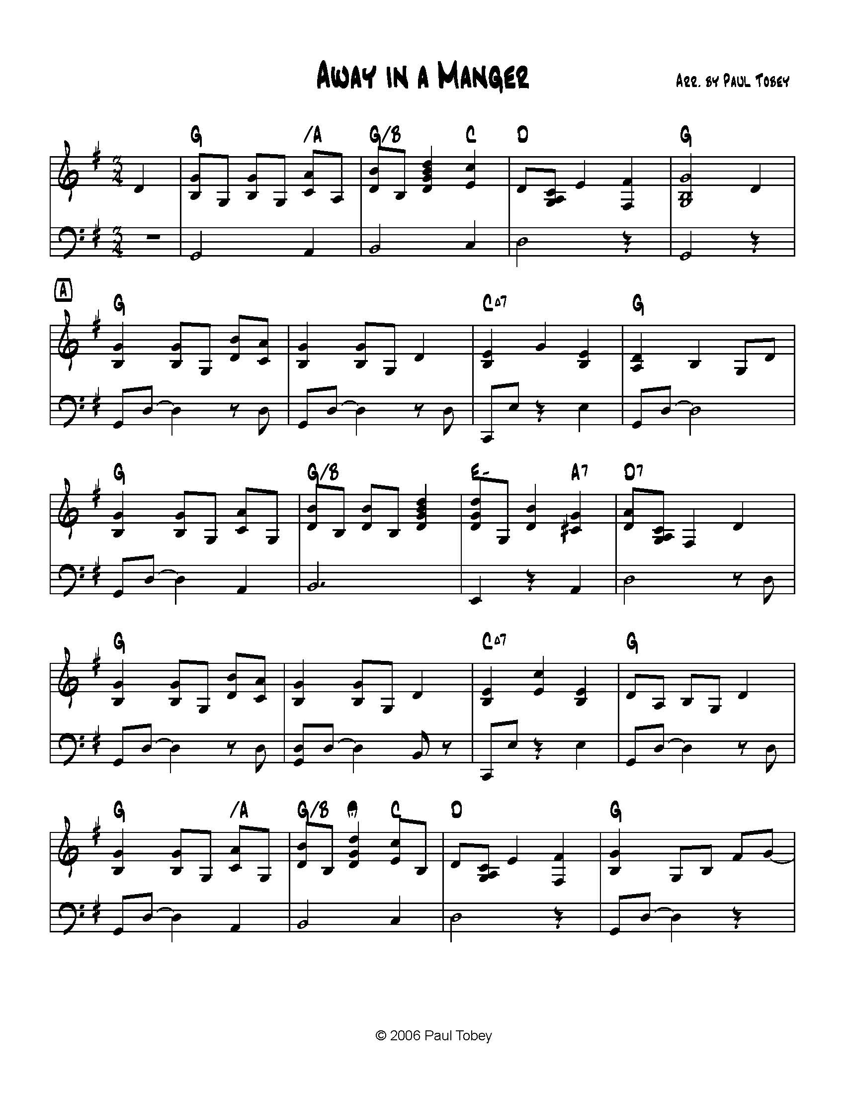 Away in a manger sheet music pdf paul tobey for Away in a manger coloring pages