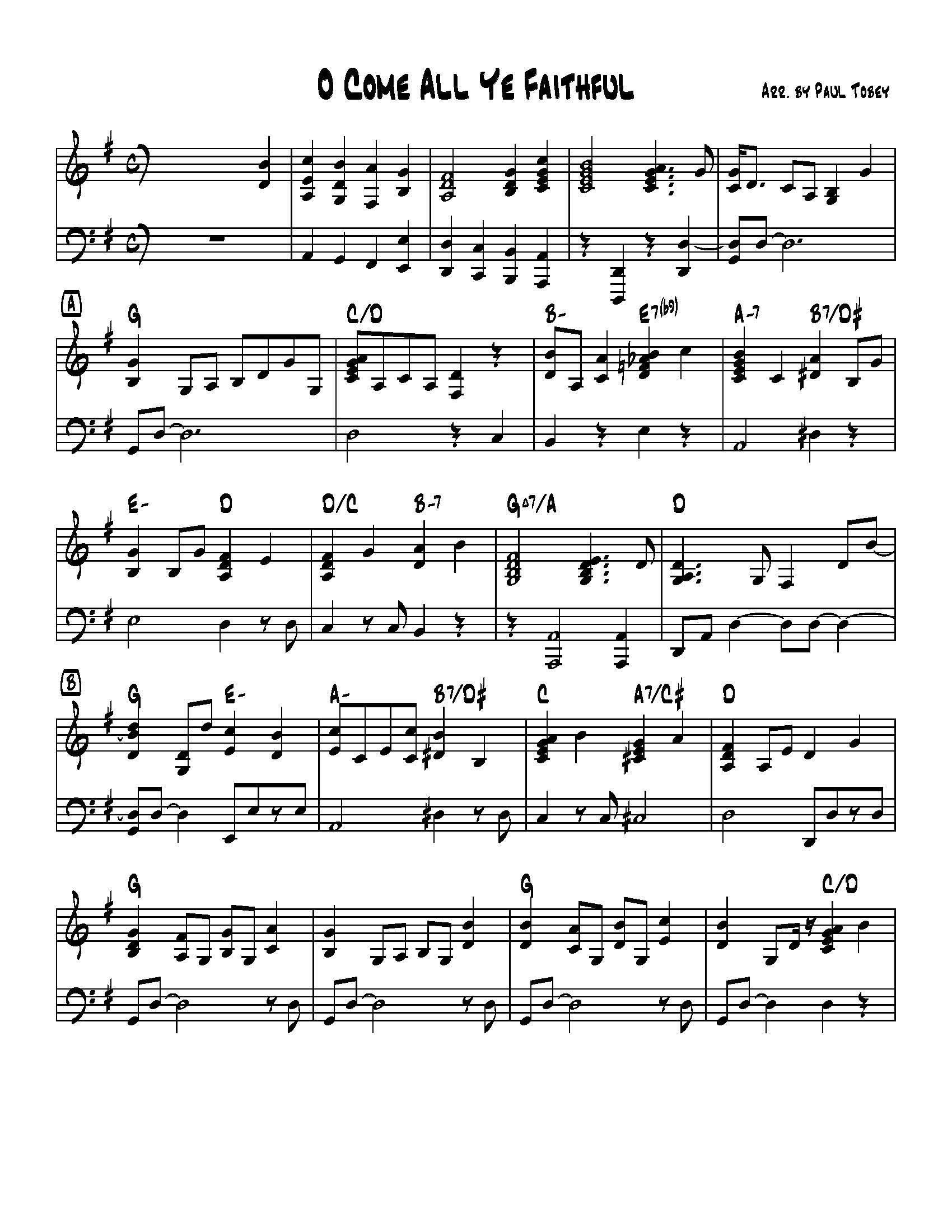 O Come All Ye Faithful - Sheet Music PDF - Paul Tobey