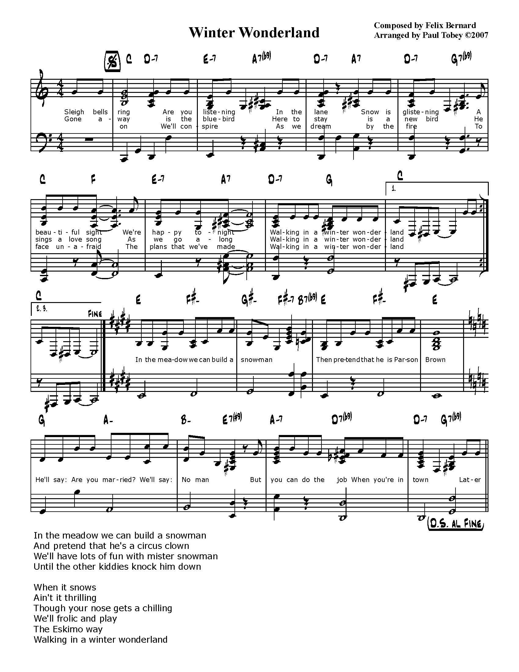 Winter Wonderland Sheet Music Erkalnathandedecker